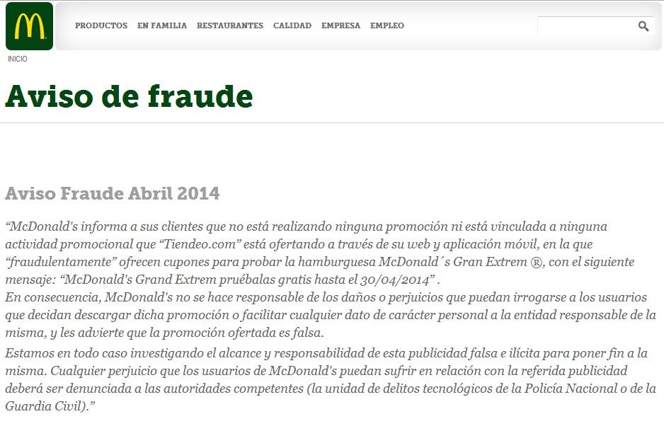 Aviso Fraude Mcdonald's