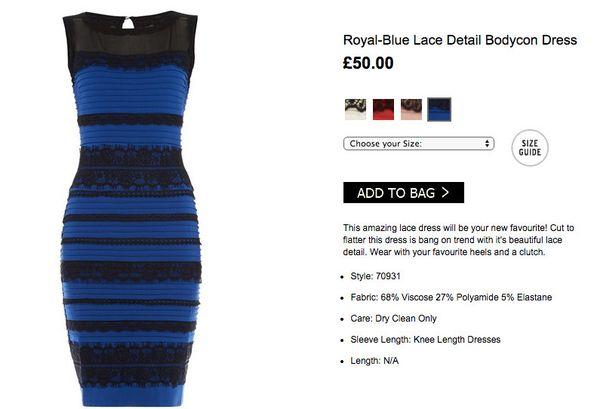 Vestido azul y negro blanco y dorado explicacion